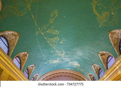 NEW YORK,  USA - OCT 6, 2017: star signs painted at the ceiling of Grand Central in New York It is the largest train station in the world by number of platforms: 44