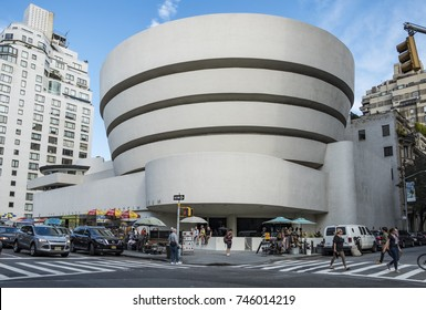 NEW YORK, USA - OCT 6, 2017:  Solomon R. Guggenheim Museum is the permanent home of a continuously expanding collection of Impressionist, Post-Impressionist, early Modern and contemporary art