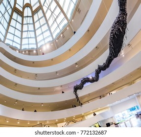 NEW YORK, USA - OCT 6, 2017:  Solomon R. Guggenheim Museum is the permanent home of a collection of Impressionist, Post-Impressionist, early Modern and contemporary art.