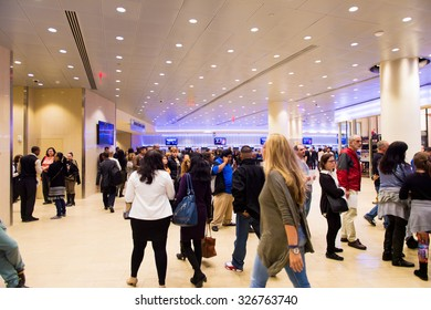 NEW YORK, USA - OCT 8, 2015: Interior of the  Madison Square Garden, New York City. MSG is the arena for basketball, ice hockey, pro wrestling, concerts and boxing.