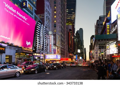 NEW YORK, USA - OCT 8, 2015: Times Square at night, a major commercial neighborhood in Midtown Manhattan, New York City