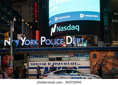 NEW YORK, USA - OCT 8, 2015: Times Square, a major commercial neighborhood in Midtown Manhattan, New York City