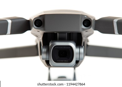 New York, USA - October 01, 2018: Hasselblad camera on Mavic 2 Pro drone isolated on white background. DJI drone. Technologies. Electronics. Front view.