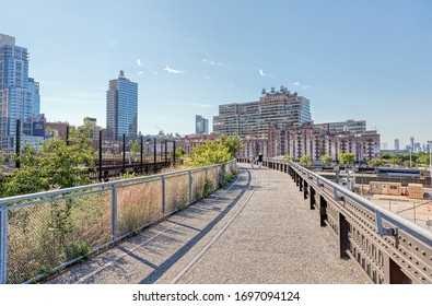 NEW YORK, USA - OCTOBER 01, 2018: Starting point of the The High Line a elevated linear park, greenway and rail trail created on a former New York Central Railroad spur on the west side of Manhattan.