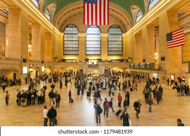 NEW YORK, USA - OCTOBER 1, 2009: Interior of Grand Central Station in Manhattan, New York city. The terminal is the largest train station in the world by number of platforms.