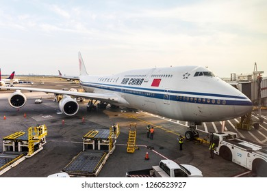 NEW YORK, USA - October 1, 2018: AIR CHINA plane (Boeing 747) in John F. Kennedy International Airport (JFK). New York City, USA.