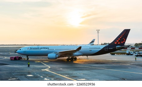 NEW YORK, USA - October 1, 2018: Brussels Airlines Aircraft (Airbus A330-321, Registration: OO-SFV) in John F. Kennedy International Airport (JFK). New York City, USA.