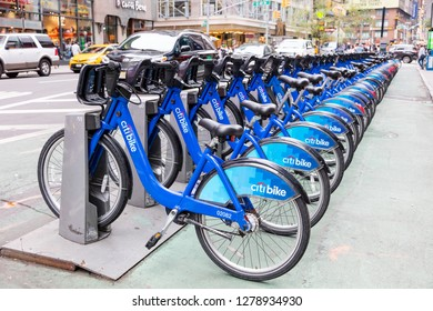 New York, USA, October 1, 2016: City bikes on Broadway prepared to rent. The program has largest bike share, with 12,000 bikes and 750 stations across Manhattan, Brooklyn, Queens and Jersey City