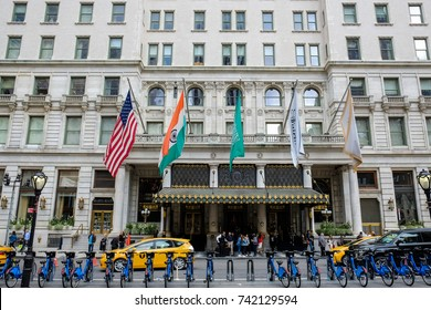 New York, USA, October 1, 2017: facade of the famous Hotel Plaza in New York