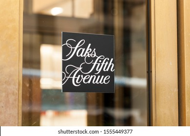 New York, New York, USA - October 10, 2019: Saks Fifth Avenue or Saks & Company on Fifth Avenue in Manhattan.