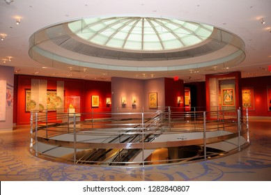 New York, USA - October 11, 2018 - Interior of the Rubin Museum of Art, located in the Chelsea neighborhood of Manhattan in New York City