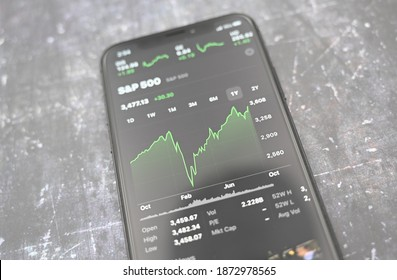 New York, New York, USA - October 11 2020: closeup of S and P 500 chart over a one year period ending in October 2020 on Apple iPhone X Stocks application (concept of V-shaped economic recovery).