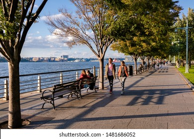 NEW YORK, USA - OCTOBER 20, 2018 : Walkway  at  Hudson River Park in New York, USA.