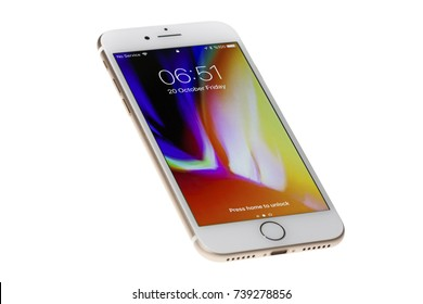New York, USA - October 20, 2017: Brand new gold Apple iPhone 8 front side isolate on  white background with clipping path.
