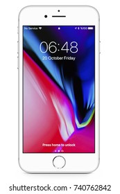 New York, USA - October 20, 2017: Brand new silver Apple iPhone 8 front side isolate on  white background with clipping path.