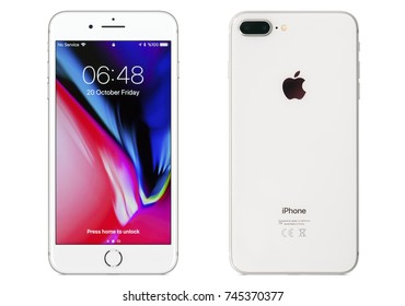 New York, USA - October 20, 2017: Brand new silver Apple iPhone 8 plus front and back side isolate on  white background with clipping path.