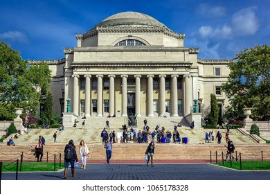NEW YORK, USA - OCTOBER, 2015: Columbia University Library buildings with columns and dome.