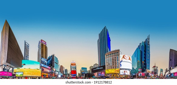 New York, USA - October 21, 2015:  Times Square, featured with Broadway Theaters and huge number of LED signs, is a symbol of New York City and the United States.
