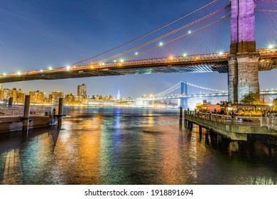 New York, USA - October 21, 2015:   Manhattan waterfront at night with view to skyline.