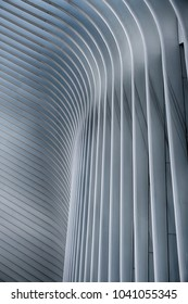 NEW YORK, USA - OCTOBER 22, 2017: The World Trade Center train station in lower Manhattan was designed by Santiago Calatrava. This image shows an architectural abstract view of the  exterior walls.