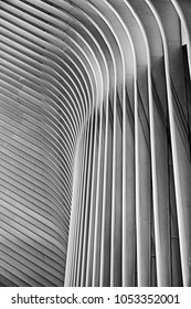 NEW YORK, USA - OCTOBER 22, 2017: An architectural abstract view of the exterior ribs of the World Trade Center train station in Manhattan was designed by Santiago Calatrava. (In black and white.)