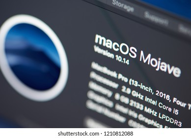 New york, USA - october 23, 2018: MacOs on Mojave version on macbook pro laptop screen close up view