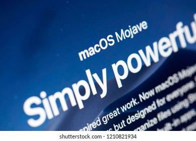 New york, USA - october 23, 2018: Presentation of macOS Mojave on laptop screen close up view