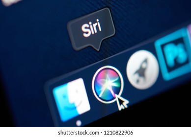 New york, USA - october 23, 2018: Icon of siri in Mojave OS on laptop screen close up view