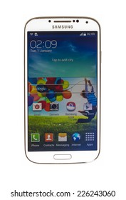 "New York, USA - October 24, 2014:: Studio shot of a white Samsung Galaxy S4 smartphone. Samsung Galaxy S4 is supported with 5.1"" touch screen display and 1920 x 1080 pixels resolution."