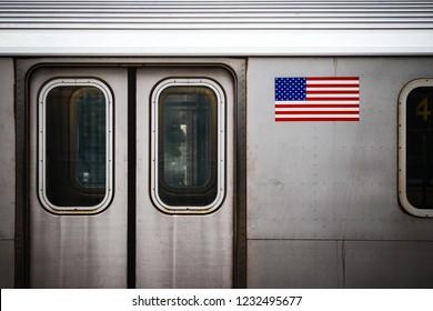 NEW YORK, USA - OCTOBER 28, 2018: New York City subway train cars during stop at Yankee stadium station in Bronx, New York