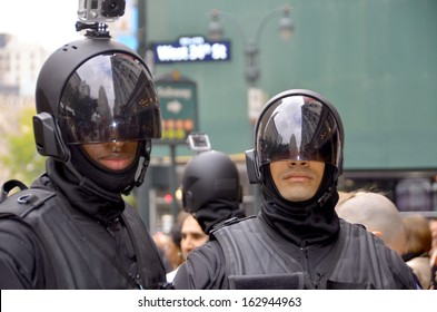NEW YORK USA OCTOBER 28: Men wear as a robot for the presentation Almost Human  an upcoming American science fiction/crime drama on FOX Network on october 28 2013 in New York USA