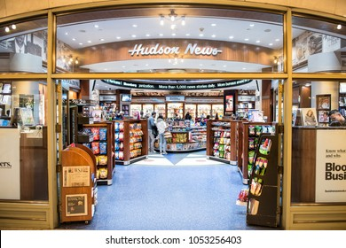 New York, USA - October 29, 2017: Grand central terminal subway in New York City with sign, people walking inside Hudson Group news store shop