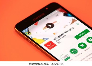 New York, USA - October 29, 2017: AliExpress Shopping application in Play Store. AliExpress Shopping application in smartphone.