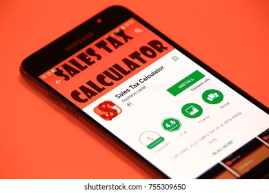 New York, USA - October 29, 2017: Sales Tax Calculator application on smartphone. Sales tax calculator for android.