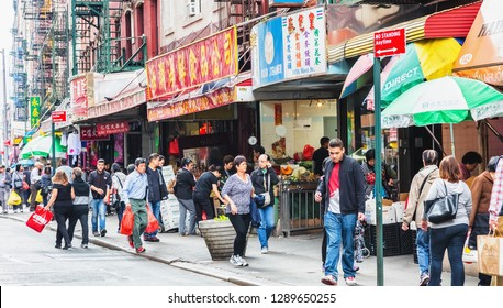 NEW YORK, USA - October 3, 2016 : Food, Fish and Vegetable markets at Chinatown Mott street in New York City