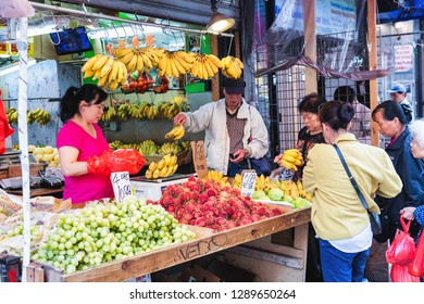 NEW YORK, USA - October 3, 2016 : Food and Vegetable market at Chinatown on Mott Street in New York City