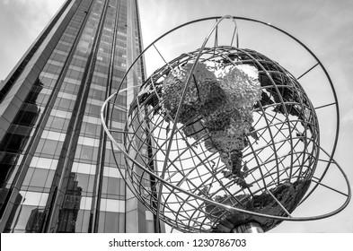 New York, USA - October 31, 2018: Globe at Columbus Circle in Manhattan