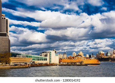 New York, USA, October 4, 2016: Staten Island Ferry provides 22 million people a year (70,000 passengers a day) with ferry service between St. George on Staten Island and Whitehall Street in Manhattan
