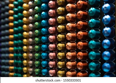 NEW YORK, USA - OCTOBER 6, 2019: Inside Nespresso store in New York. Nespresso machines brew espresso and coffee from coffee capsules, or pods.
