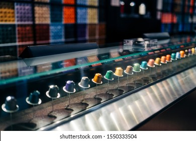 NEW YORK, USA - OCTOBER 6, 2019: Variety of coffee capsules in Nespresso store in New York. Nespresso is an operating unit of the Nestle Group based in Lausanne, Switzerland
