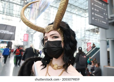 New York, New York - USA – October 9, 2021: Regan from Boston is dressed as Lady Loki for New York Comic Con 2021 at the Jacob Javits Center on Oct. 9, 2021 in New York City.