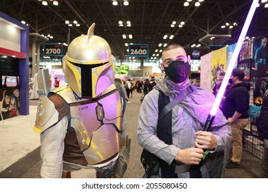 New York, New York - USA – October 9, 2021: Brian and Brandon from Boston are dressed as characters from Star Wars for the New York Comic Con 2021 at the Jacob Javits Center.