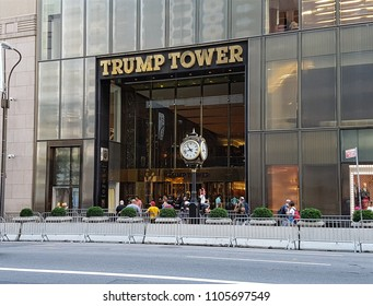 New York, USA, picture dated 1st of April 2018. Trump tower facade with some tourists and secret services agents.