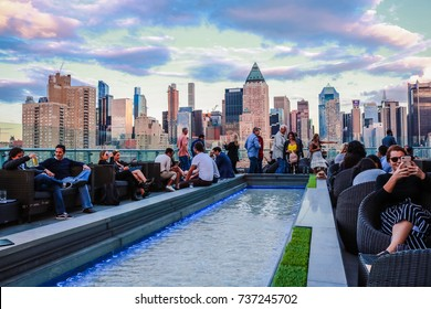 NEW YORK, USA - SEP 08, 2017: Skyline Skyscraper View at the Press Lounge Rooftop