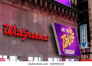 NEW YORK, USA - SEP 16, 2017: Walgreens, Manhattan, New York City, United States of America