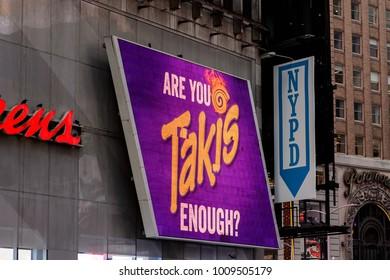 NEW YORK, USA - SEP 16, 2017: Takis, Manhattan, New York City, United States of America