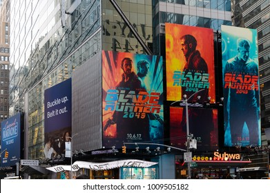 NEW YORK, USA - SEP 16, 2017: Blade Runner 2049 promo, Manhattan, New York City, United States of America