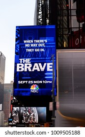 NEW YORK, USA - SEP 16, 2017: The Brave screen, Architecture of Manhattan, New York City, United States of America