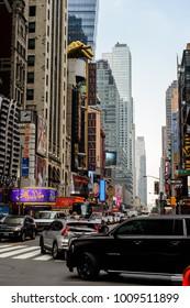NEW YORK, USA - SEP 16, 2017: Traffic on the roads of  Manhattan, New York City, United States of America