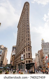 NEW YORK, USA - Sep 16, 2017: Flatiron Building at NYC. Originally the Fuller Building, is a triangular steel-framed landmarked building located at 175 Fifth Avenue in the borough of Manhattan